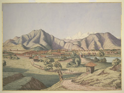 Distant view of Katmandu (Nepal) seen from the road to Patan. April 1853
